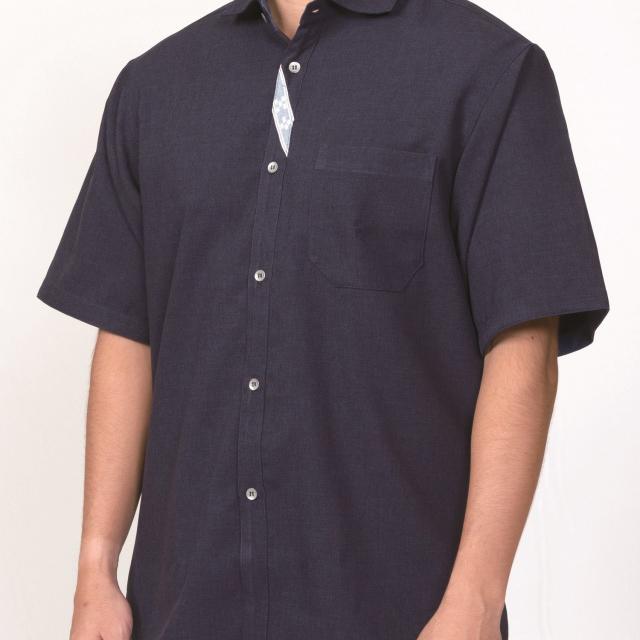 みんさーシャツ紺色